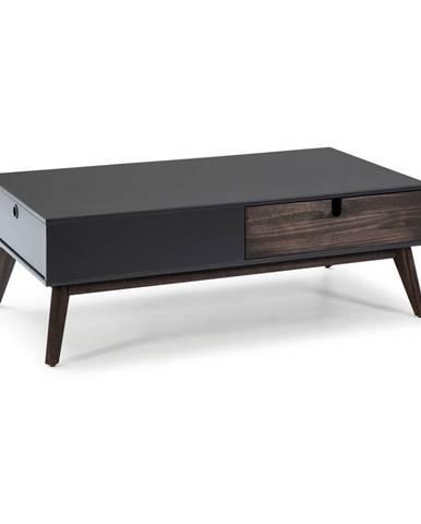 Sivý konferenčný stolík s 2 zásuvkami a nohami z borovicového dreva Marckeric Kiara