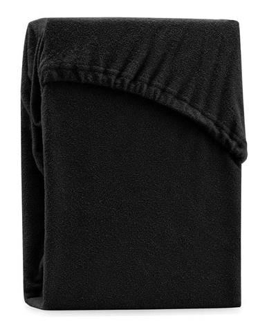 Čierna elastická plachta na dvojlôžko AmeliaHome Ruby Siesta, 220-240 x 220 cm