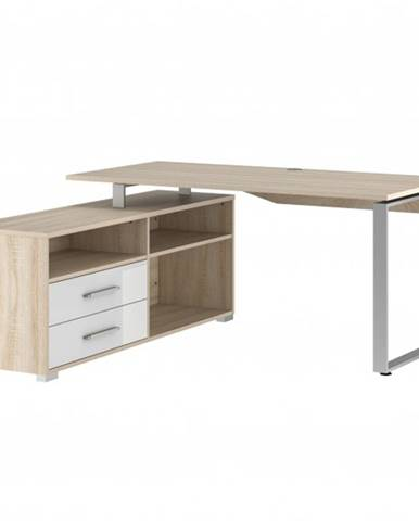 Rohový písací stôl SPOKE dub sonoma/biela