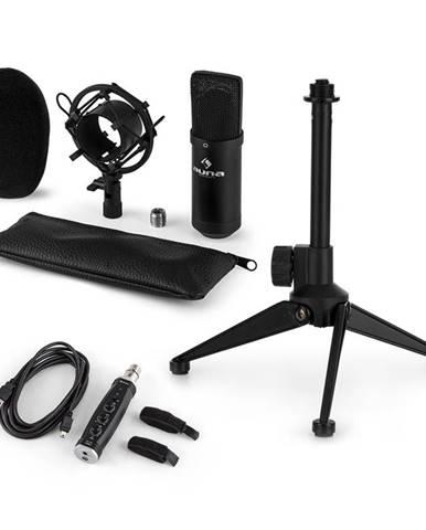 Auna CM001B mikrofónová sada V1, kondenzátorový mikrofón, USB-adaptér, mikrofónový stojan, čierna farba