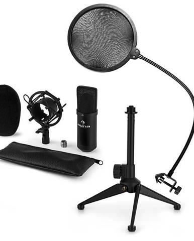 Auna CM001B mikrofónová sada V2 - kondenzátorový mikrofón, mikrofónový stojan, pop filter, čierna farba