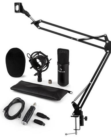 Auna CM001B mikrofónová sada V3, kondenzátorový mikrofón, USB-adaptér, mikrofónové rameno, čierna farba