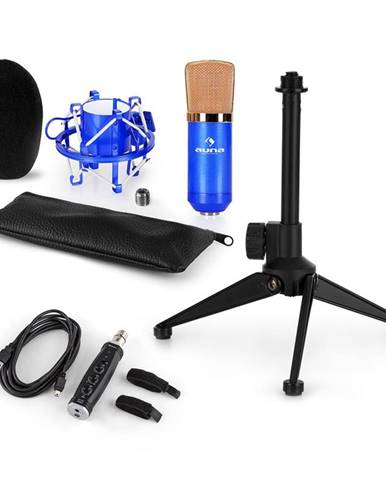 Auna CM001BG mikrofónová sada V1, kondenzátorový mikrofón, USB-adaptér, mikrofónový stojan, modrá farba