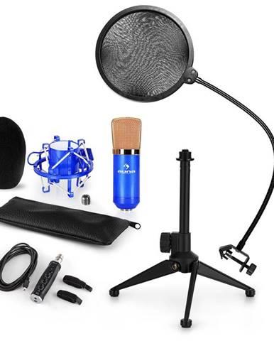 Auna CM001BG mikrofónová sada V2, kondenzátorový mikrofón, USB-adaptér, mikrofónový stojan, modrá farba