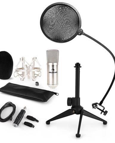 Auna CM001S mikrofónová sada V2, kondenzátorový mikrofón, USB-adaptér, mikrofónový stojan, strieborná farba