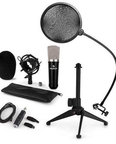 Auna CM003 mikrofónová sada V2, kondenzátorový mikrofón, USB-konvertor, mikrofónový stojan, POP filter