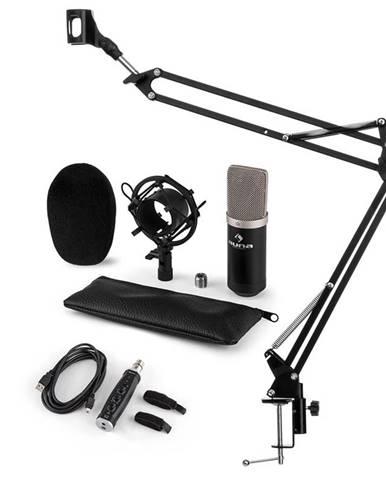 Auna CM003 mikrofónová sada V3, kondenzátorový mikrofón, USB-konvertor, mikrofónové rameno, čierna farba