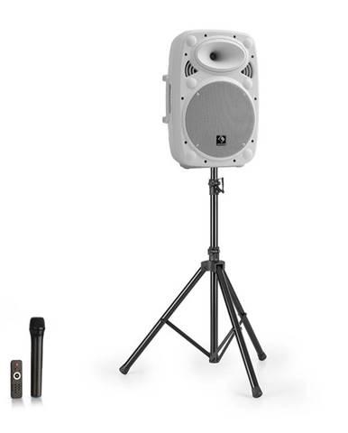 "Auna Streetstar 10, mobilný PA systém + statív, 10"" woofer, UHF mikrofón, 400 W max., biely"