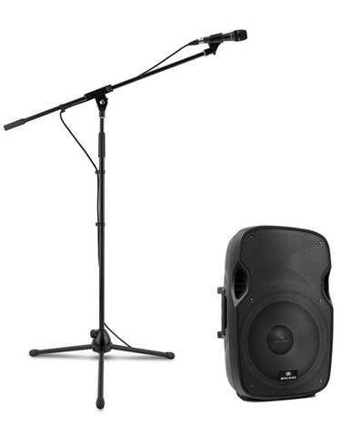 Malone PW-2915, sada s aktívnym PA reproduktorom a mikrofónom, 800 W, čierna