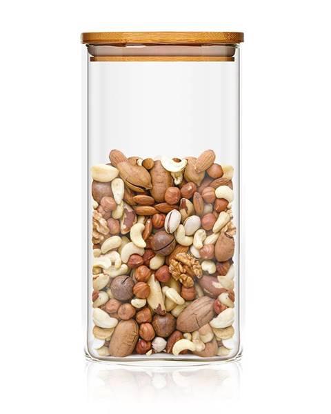 Klarstein Klarstein Hranatá nádoba skladovanie potravín s bambusovým vrchnákom, vzduchotesná, so silikónovým tesnením, 6 × 25 × 6 cm, 500 ml