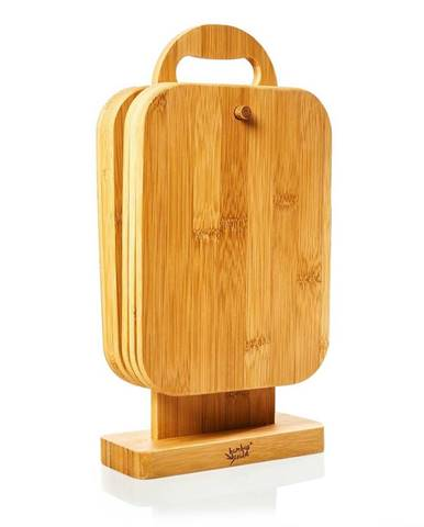 Klarstein 6 dielna súprava bambusových raňajkových dosiek so stojanom, 22 x 0,9 x 16 cm (ŠxVxH), jednoduchá údržba
