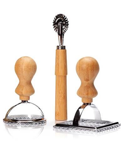 Klarstein Formičky na ravioly, súprava 3 kusov, 2 veľkosti, okrúhla a hranatá, koliesko na cesto, kov, bambus
