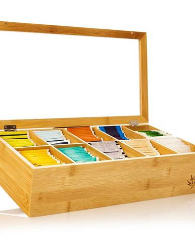 Klarstein Škatuľka na čaj, 10 priečinkov, 150 čajových vrecúšok, priehľadné plastové okienko, bambus