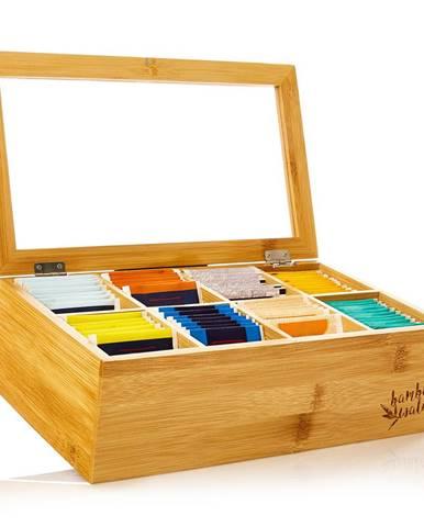 Klarstein Škatuľka na čaj, 8 priečinkov, 120 čajových vrecúšok, priehľadné plastové okienko, bambus