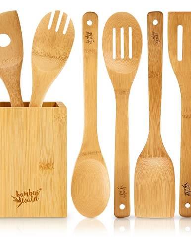 Klarstein Súprava variech s boxom, 6 dielna súprava, trvácna, ľahká, bambus