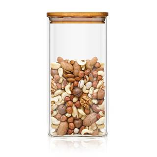 Klarstein Hranatá nádoba skladovanie potravín s bambusovým vrchnákom, vzduchotesná, so silikónovým tesnením, 6 × 25 × 6 cm, 500 ml