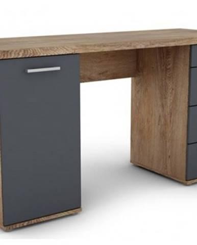 Písací stôl Walter, dub burgund / grafitovo šedý%