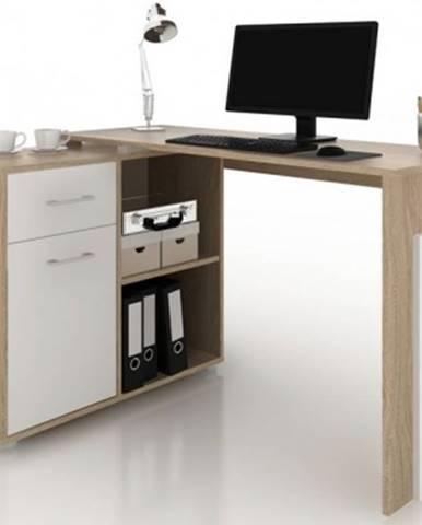 Rohový písací stôl Andy, dub sonoma/biela%