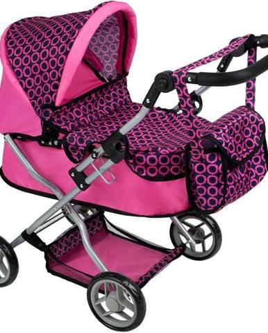 Hlboký kočík pre bábiky PlayTo Viola čierno-fialový