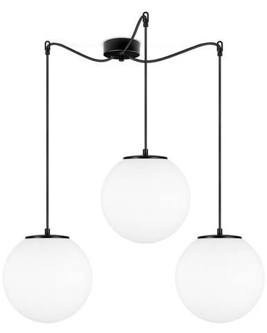 Čierne trojramenné závesné svietidlo s bielymi tienidlami Sotto Luce Tsuki, ⌀ 25 cm