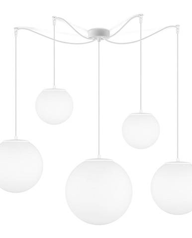 Matne biele päťramenné závesné svietidlo Sotto Luce Tsuki
