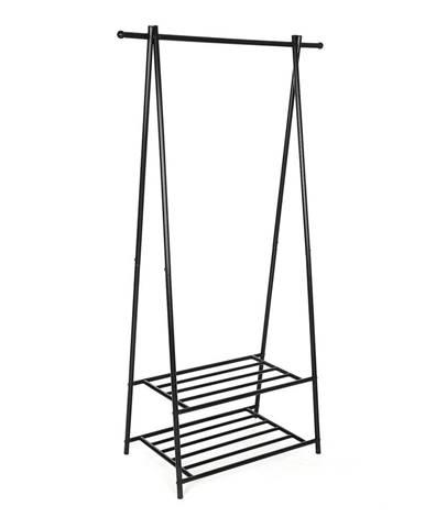Kovový stojan s 2 policami na oblečenie Songmics, šírka 87,5 cm