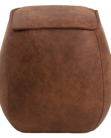 Koňakovohnedý puf z imitácie kože Actona Mie, 40 x 40 cm