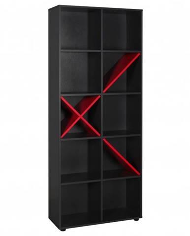 Knižnica GAME antracitová/červená