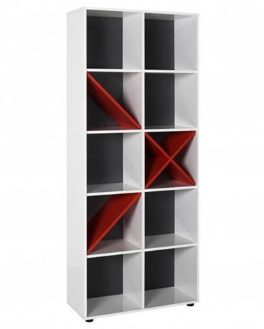 Knižnica GAME biela/červená