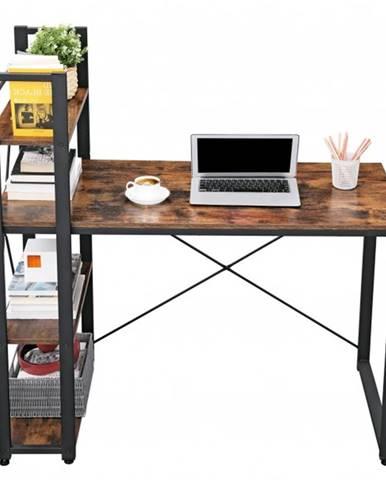 Písací stôl s regálom MAIA II čierna/hnedá
