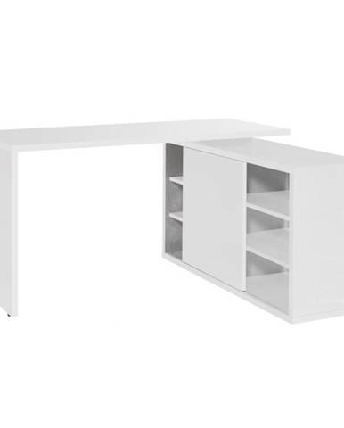 Rohový písací stôl ORECO biela
