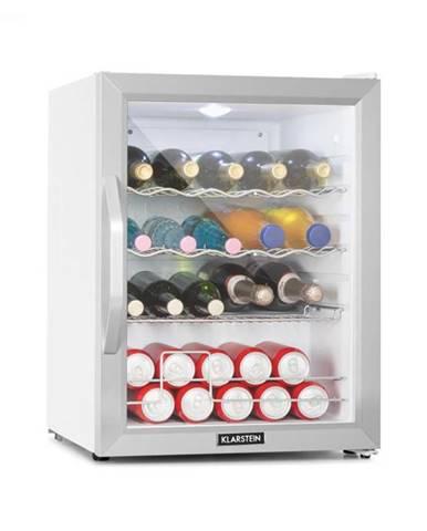 Klarstein Beersafe XL Crystal White, chladnička, A++, 60 l, LED, sklenené dvere, biela/strieborná