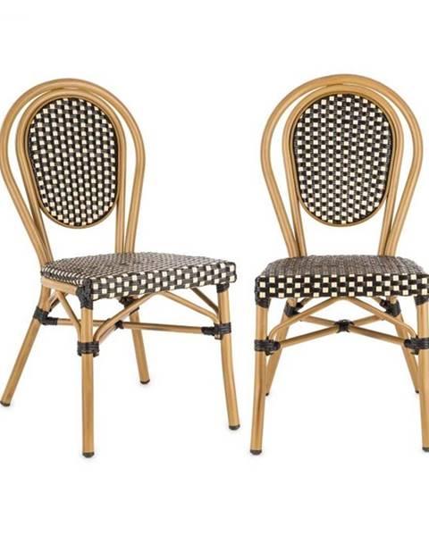Blumfeldt Blumfeldt Montpellier BL, bistro stolička, možnosť ukladať stoličky na seba, hliníkový rám, čierno-krémová