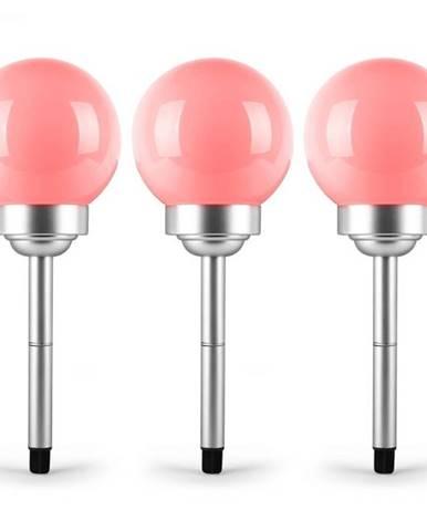 OneConcept LED-Flower 14, 3x záhradné svietidlo, solárna lampa, Ø 14 cm, 4 RGB LED diódy, IP44, červená