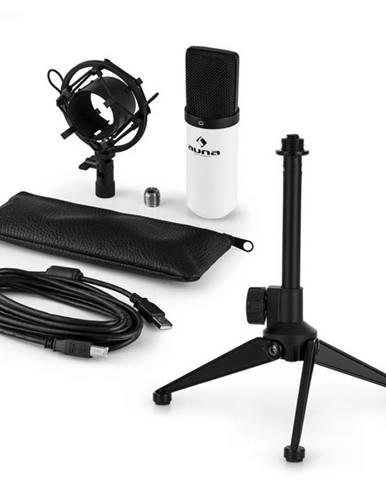 Auna MIC-900WH V1, USB mikrofónová sada, biely kondenzátorový mikrofón + stolný statív