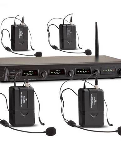 Auna Pro Duett Quartett Fix V3, 4-kanálový UHF bezdrôtový mikrofónový set, dosah 50 m