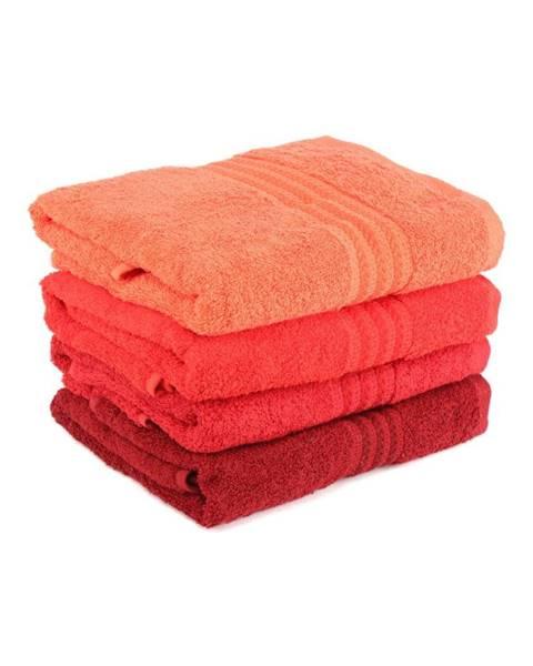 Hobby Sada 4 červených bavlnených uterákov Rainbow, 50 x 90 cm