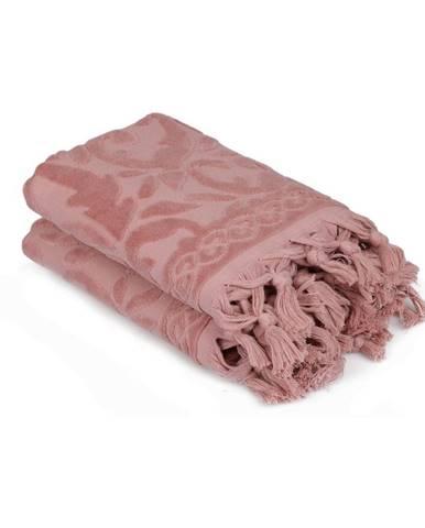 Sada dvoch ružových uterákov v odtieni dusty rose Bohème, 90 × 50 cm