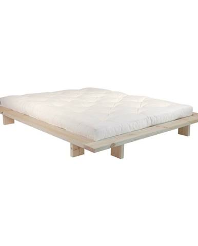 Dvojlôžková posteľ z borovicového dreva s matracom Karup Design Japan Double Latex Raw/Natural, 160 × 200 cm