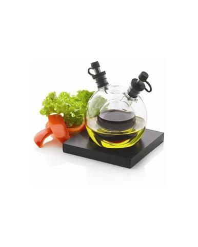 Nádoba na olej a ocot z ručne fúkaného skla s podnosom XD Design Orbit