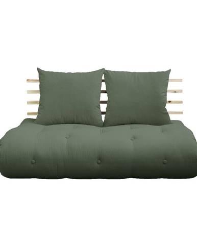 Rozkladacia pohovka so zeleným poťahom Karup Design Shin Sano Natural/Olive Green