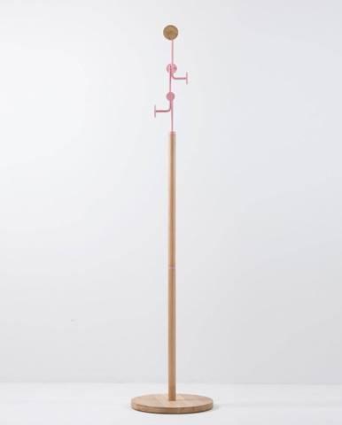 Stojací vešiak z masívneho dubového dreva s ružovým detailom Gazzda Hook