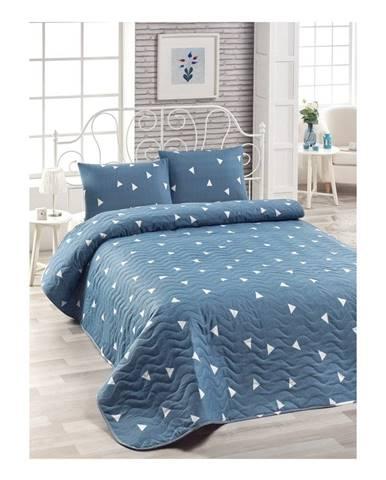 Set modrej prikrývky cez posteľ a obliečky na vankúš Mismo Cula, 160×220 cm