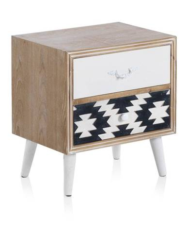 Príručný stolík s čiernobielymi detailmi a dvoma zásuvkami Geese Rustico Geometric