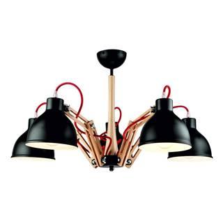 Čierne závesné svietidlo na 5 žiaroviek Lamkur Marcello