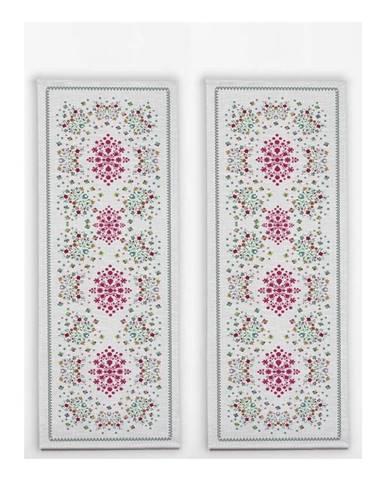 Sada 2 stolových behúňov s ľanovou prímesou Madre Selva Flowers Tapestry
