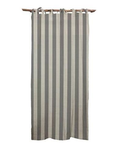 Sivý záves Linen Couture Cuture Cortina Hogar Grey Stripes