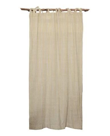 Žltý záves Linen Couture Cuture Cortina Hogar Yellow Marine Stripes
