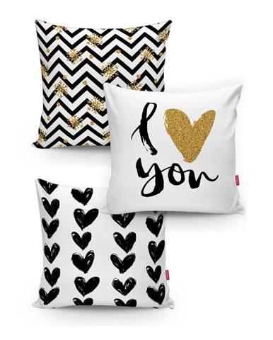 Sada 3 obliečok na vankúše Minimalist Cushion Covers BW With Hint Of Gold, 45x45cm