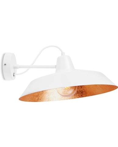 Biele nástenné svietidlo s detailom v medenej farbe Bulb Attack Cinco Basic, ⌀ 40 cm